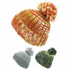 Wool Beanie Hat Bobble Knit Knitted Marl Lined Men Ladies Warm Winter