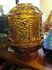 Amber Candle Holder Fairy Lamp Indiana Glass Amber Glass Stars and Bars Votive