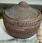 antique woven basket covered primitive 19c early 1800s woven