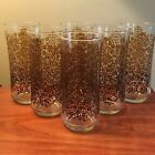 6 Vintage Libby Tall Brown Daisy/Flowers Water Drinking Glasses