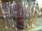 Multi color Tumbler Ringed base Thin Translucent Luster Glass (6) Vintage