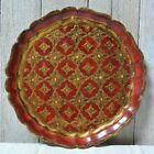 Vintage Florentine Italian Toleware Round Tray Gold Red 11 3/4 inches