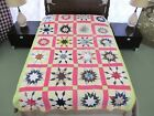 FULL Vintage Hand Pieced, Quilted Feed Sack BLAZING STAR Quilt w/ Novelty Prints