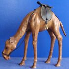 Handmade Leather TALL STANDING CAMEL stooping to drink eat Great for a Nativity