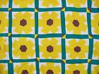 Vintage All Cotton Hand Pieced FLOWER GARDEN Of Yellow DAHLIAS (?) Quilt TOP