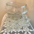Vintage Glass Punch Bowl and 8 Cups Grape pattern