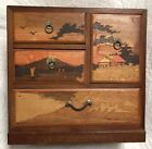 Amazing Vintage Japanese Artisan Mosaic Wood Cut Small Jewelry Chest of Drawers