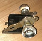 ANTIQUE VINTAGE HARDWARE GLASS DOOR KNOB SET WITH PLATES AND MORTISE LOCK works!