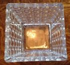 LG SQUARE VASE Modern Circles OPTIC Clear GLASS Coin Dot BOWL New HEAVY Candle