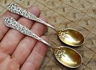 2 Vtg Antique Old Fine Sterling Silver Repousse Demitasse Spoon Lot Jessie Mono