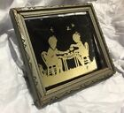 Antique Silhouette Glass Children At Tea.  Carved Wood Frame Paint On Mirror 5x6