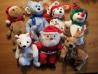 Ty Beanie Baby-LOT OF 7-Christmas/Holiday-SANTA/SNOWGIRL/HOLIDAY TEDDY X4/ROXIE