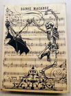 DANCING SKELETON HALLOWEEN Rubber Stamp Stampendous Dance Danse Macabre Music