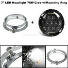Combo For Harley Touring LED 7 Cree 75W Headlight w Mounting Ring Bracket