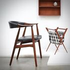 1950s Danish Modern Th. Harlev Teak Side Desk Chair Mid Century Vintage Wegner
