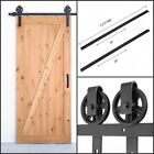 Carbon Steel Sliding Barn Wood Door Hardware Track Roller Kit Set Black 6.6ft