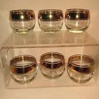 Mid Century Modern Triple Gold Band Roly Poly Glasses Set of 6
