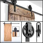 6.6 FT Black Modern Antique Style Sliding Barn Wood Door Hardware Closet Set New