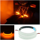 2 Pcs PVC 45-70MM Motorcycle Front Fork Mount Turn Signal Light Amber LED Strips