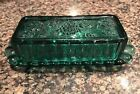 Vintage Emerald Green Glass Butter Dish w/Lid, Grapes Pattern, Depression Glass