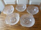 5 VINTAGE BEAUTIFUL CLEAR GLASS  DESSERT/ FINGER BOWLS W/HANDLES