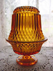 ViNTaGe RICH Amber FLARED ArT GLaSs Large Footed Fairy Candle Holder Lamp Shade