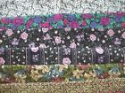 FLOWERS on BLACK floral SPRING 2 BTY Cotton QUILT Fabric U PICK READ for info