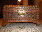 EX-LG VINTAGE ASIAN CAMPHOR WOOD BOX w/BRASS LOCK HIGH RELIEF ASIAN FIGURES
