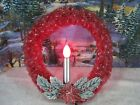 Vintage Red Cellophane Lighted Christmas Wreath  923