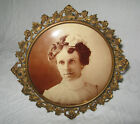 Antique Ornate Brass Picture Frame w Wire Easel - Celluloid Pic. Victorian Lady