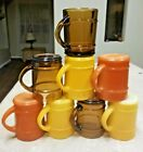 Anchor Hocking Fire King Ranger Barrel 12 Oz Mugs Orange Yellow Tawny Amber (8)