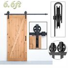6.6FT Modern Sliding Door Hardware Kit Stainless Steel Wood Barn Door Track Set