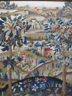 Antique French Needlepoint Tapestry Castles/Chateaus Through Forest on Hills yqz