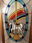 Vibrant Stained Glass Carousel Horse Window Panel