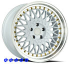 Aodhan AH05 Wheels White 18 +30 Staggered Rims 5x1143 Fit 98 Nissan 240sx SE