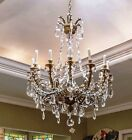 19th Century Candle Lighted Bronze Chandelier with large,heavy hand cut Crystals