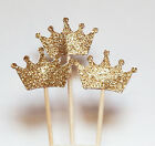24X Gold Glitter Crown Cupcake Topper birthday cake Wedding Party BABY SHOWER BS