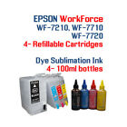 4 100ml Dye Sublimation Ink 4 Refillable ink cartridges 252XL Epson WorkForce WF