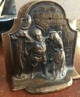 ANTIQUE ORIGINAL FALSTAFF AND MRS FORD - CAST IRON BOOKENDS COPPER/BROZED FINISH