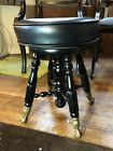 Vintage Black Wood Piano Stool With Claw Feet