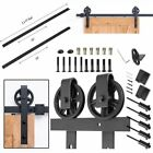 6.6FT Rustic Steel Sliding Barn Wood Door Closet Hardware Track Kit Set Black