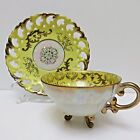 Saucer Japan Open Weave Yellow Gold Iridescent White
