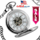 Mens Pocket Watch Mechancial Hand-winding Skeleton W/Chain Luxury High Quality