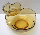 Mid Century Modern Anchor Hocking Pinched Gold Glass Chip And Dip Set!