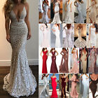 Womens Lace Mermaid Bodycon Maxi Dress Formal Wedding Party Bridesmaid Prom Gown