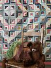 The tiniest pieces! Amazing Antique c1870-1880 Log Cabin QUILT 80x69 Small Scale