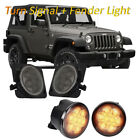 Smoked Lens LED Turn Signal w/ LED Side Marker Combo For Jeep Wrangler JK 07-17