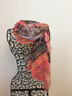 Floral square mini fringes scarf Coral