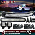 42INCH CURVED LED LIGHT BAR+22 IN+4 CREE PODS OFFROAD SUV 4WD UTV VS 52 32 20