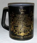 Libra Zodiac Vtg Federal Coffee Mug Black Milk Glass Horoscope Astrology Scales